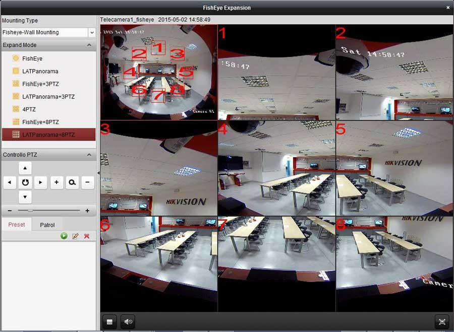 Telecamera panoramica Hikvision Raptor Fisheye: vista a 8ptz